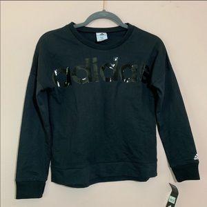 Adidas black glossy girls sweatshirt logo L 14